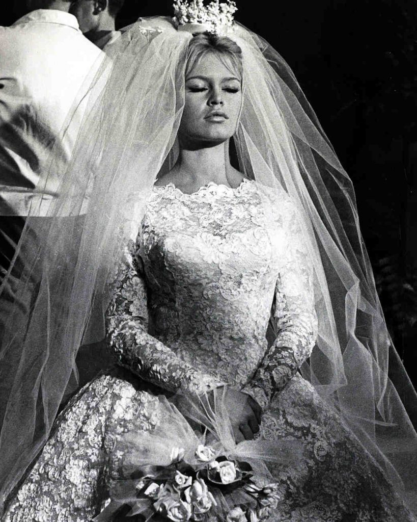 "Cinema Personalities, pic: 13th September 1959, French film actress Brigitte Bardot, (born 1934), pictured as a lovely bride in the film "" Will You Dance With Me"", Brigitte Bardot, first appeared on screen in 1952, married Roger Vadim when she was 18 and"